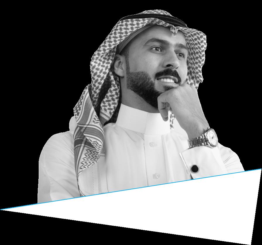 Saudi man thinking to make decisions